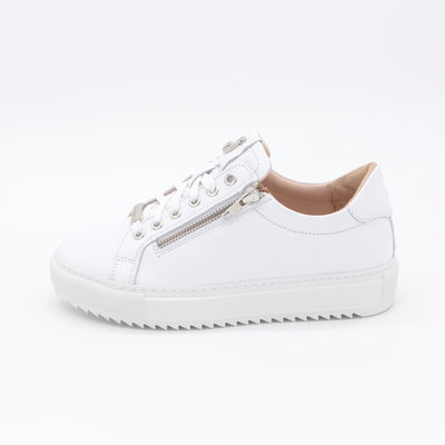 Footnotes Maud Sneaker Wit Perfo met rits